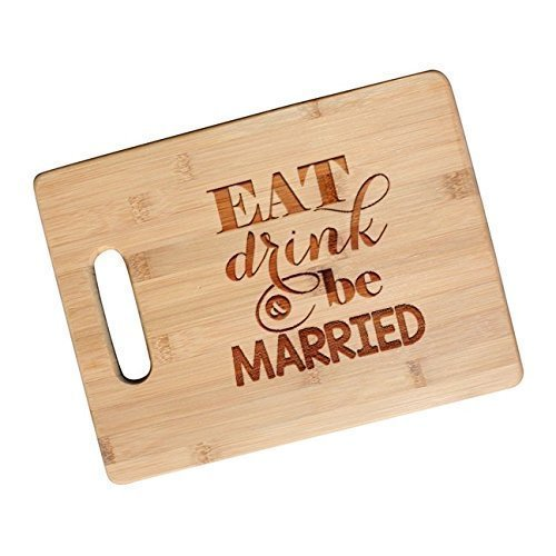 Eat, Drink and Be Married - Bamboo Cutting Board Wedding Gifts for the Couple - JS25NC (Drinks Engraved Gift)