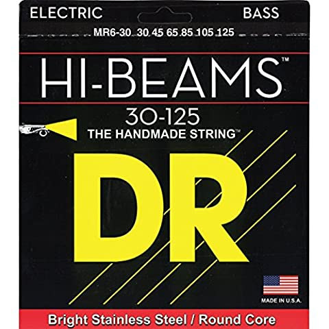 DR Strings Hi-Beam - Stainless Steel Round Core Medium 6 String 30-125 (Dr Bass Guitar Strings For 6)