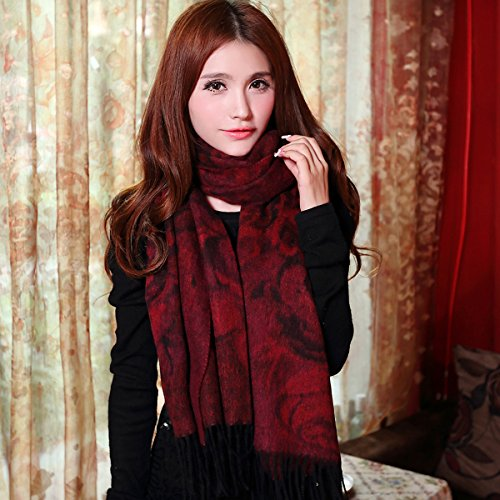 Ladies jacquard Wool Shawl Scarf dual use super thickening by KYXXLD
