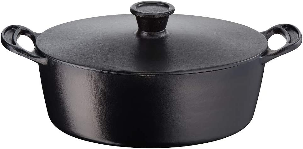 Tefal Jamie Oliver by Cast Iron Induction Oval Stewpot 30cm Ovalado, cocotte, olla, 30 cm, 5.1 litros, Hierro Fundido, negro