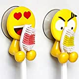 KFSO Cute Emoji Childrens Toothbrush Holder, Home and Bathroom Decoration,Toiletries Accessories Organizers,Cartoon Toothbrush Rack Hooks,Office Cable Holder(2PCS)