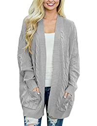 Womens Fashion Open Front Long Sleeve Cardigans Sweater With Pocket