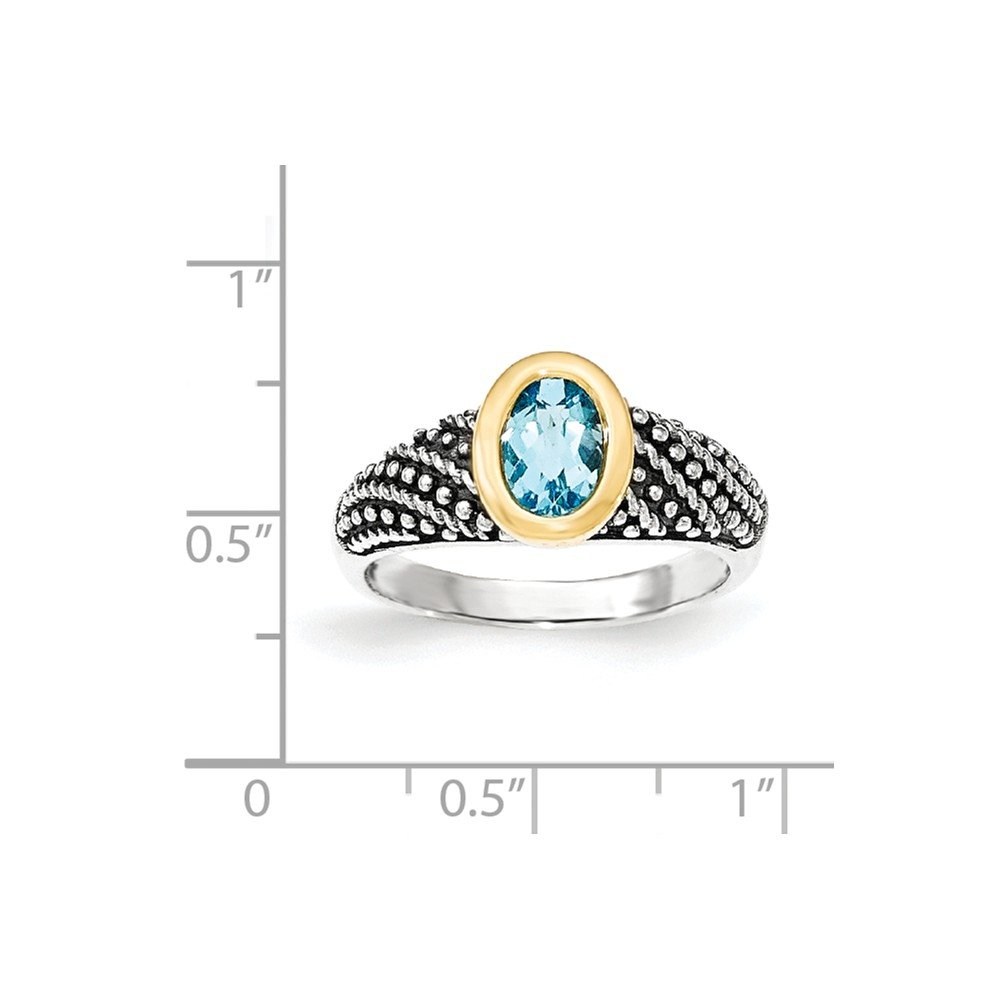 Mia Diamonds 925 Sterling Silver and 14k Yellow Gold Lt Swiss Blue Topaz Ring