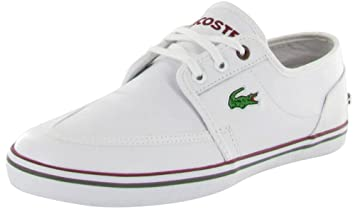 b3081f9fa552c9 LACOSTE Haynt Mens White Canvas Leather Sneakers Shoes Size 12 ...