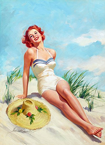 Pin-Up Girl Wall Decal Poster Sticker - Girl on Beach - Red Hair Redhead Pinup Decal Stickers and Mural for your home and business. Vintage Wall Art for Room Decor and Decoration - Pin Up Poster (Easy Pinup Hair)