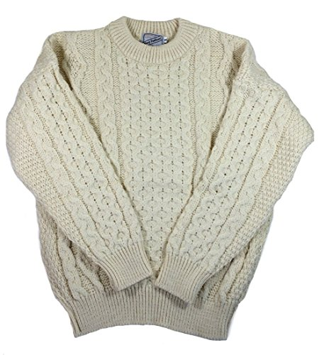 Wool Mens Sweater - Kerry Woollen Mills Aran Sweater 100% Wool Natural Irish Made Large ,Cream