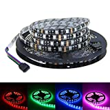 ALITOVE 16.4ft 5M 300 LEDs 5050 SMD RGB Color Changing LED Flexible Strip Ribbon Light Black PCB DC 12V Waterproof IP65 for Home Garden Commercial Area and Festival Decora