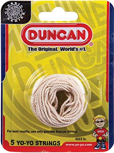 Duncan Yo-Yo String [White] - Pack of 5 Cotton String for Plastic, Metal Yo-Yos