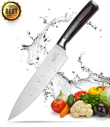 Praga 8 Inch Kitchen Knife, Professional Chefs Knives with Top Wooden Handle and Stainless Steel Blade, All Pourpose Cutting Knife with Strong and Sharp Rust Free Blade, Chef's Choice
