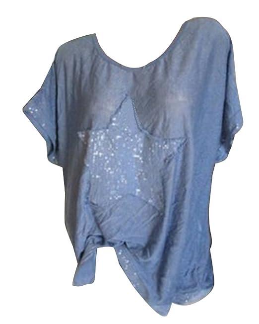 GladiolusA Camisetas Manga Corta Mujer Camiseta Suelto Casual Camiseta De Lentejuelas Camisas Tops: Amazon.es: Ropa y accesorios