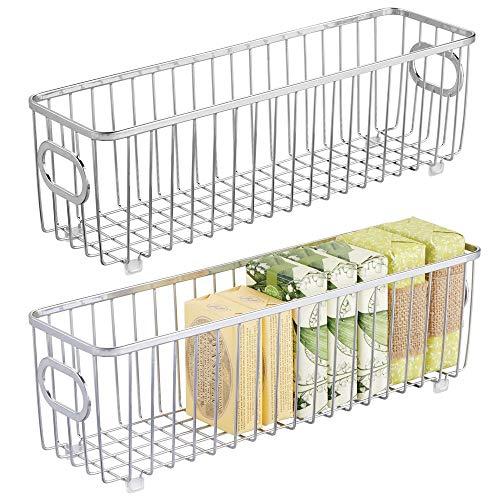 mDesign Metal Bathroom Storage Organizer Basket Bin - Farmhouse Wire Grid Design - for Cabinets, Shelves, Closets, Vanity Countertops, Bedrooms, Under Sinks - Long, 2 Pack - Chrome
