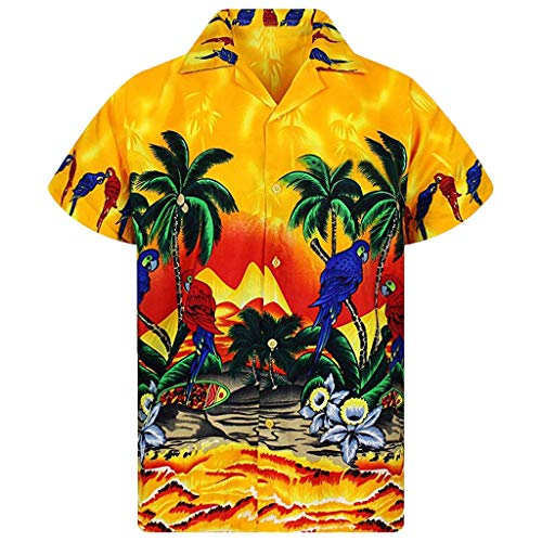 Exteren Mens Hawaiian Shirt Beach Buttons Lump Chest Pocket Short Sleeve Round Hem Loose Shirts Print Fancy Blouse