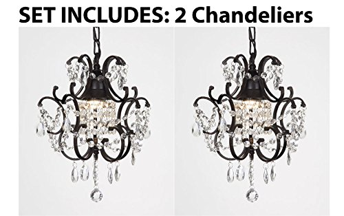 Chandelier Wrought Iron Crystal Chandelier Island Pendant Lighting  H14'' W11'' by Gallery