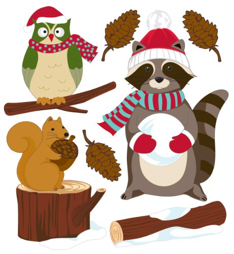 Ek Jolees Boutique Felt - EK Success Brands Jolee's Boutique Dimensional Stickers, Parcel Woodland Critters with Santa Gear