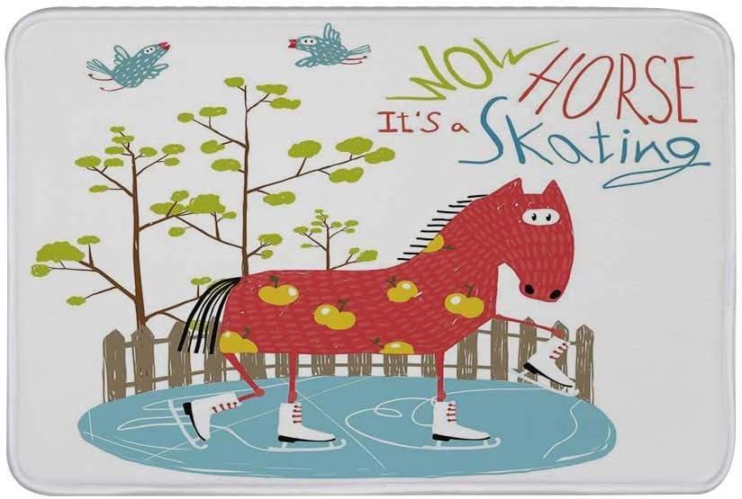 Alfombra antideslizante de decoración peculiar, guau, su patinaje, caballo sobre hielo, divertido, colorido, divertido, caricatura, para niños, árbol, pájaros, estera de piso para baño, sala de estar,