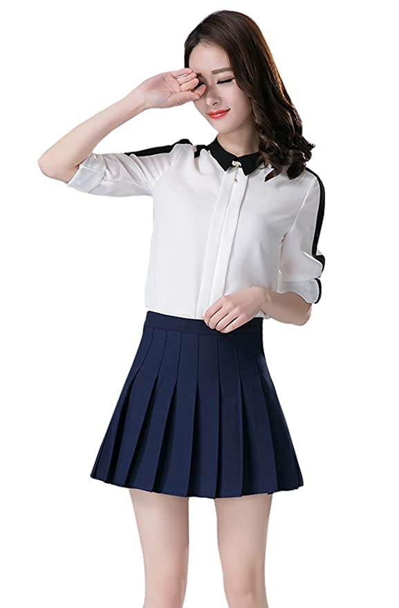 597bc09ae TOPJIN Juniors All Match Korean Style High Waist Short Pleated Skirts Mini  Dress: Amazon.co.uk: Clothing