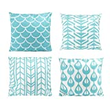 Juvale Throw Pillow Covers - 4-Pack Teal Decorative Couch Throw Pillow Cases for Girls and Woman, Modern Home Décor Cushion Covers, Teal Geometric Pattern Design, 17 x 17 Inches