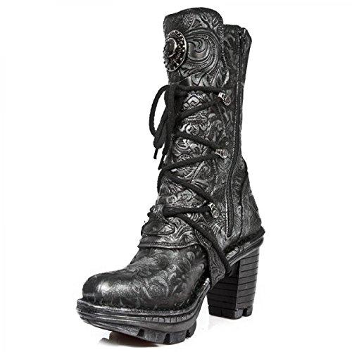 Nuovi Stivali Di Roccia M.neotr005-s11 Gotiche Damen Hardrock Punk Stiefel Schwarz