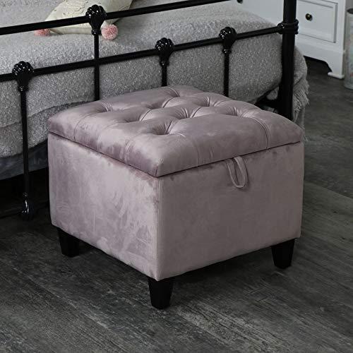 Melody Maison Pretty Pink Velvet Storage Stool//Pouffe