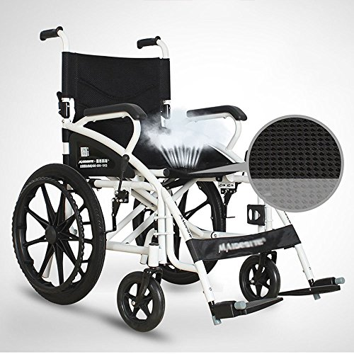 Wheel Rear Magnesium (MS Wheelchair - No Inflatable Folding Manual Wheelchair Portable Elderly Disabled Travel Trolley Wheelchair Size: 91x106.5x70cm)