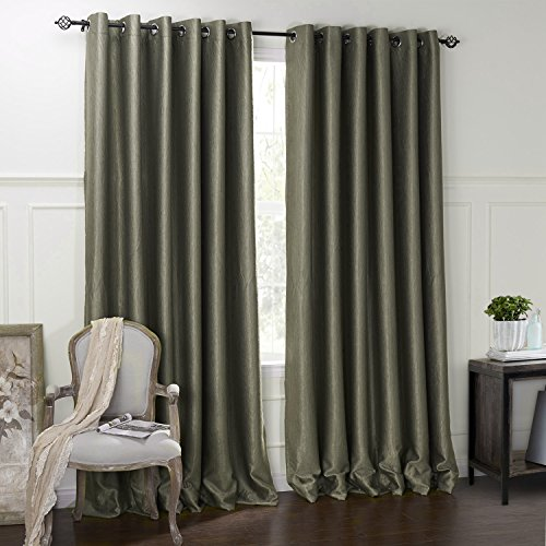 Modern Minimalist Dark Green Solid Embossed Grommet Top Lined Blackout Window Treatment Draperies & Curtains Panels 50″W x 102″L (Set of 2 panels) Multi Size Available Custom For Sale