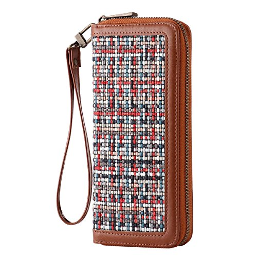 HAWEE Long Clutch Wallet PU Leather Zipper Purse with Wristlets for Card/Cellphone/Coin/Cash, Woven Linen Brown