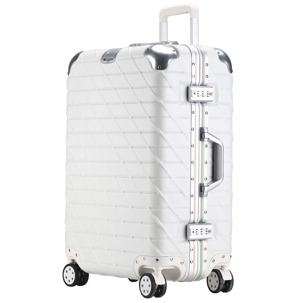 トロリーケースアルミフレームユニバーサルホイールスーツケースビジネスパスワード男性と女性がシャーシに搭乗(20/24/26/29インチ) (Color : 白, Size : 29 inch)   B07R5L8273