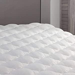 eLuxurySupply RV Mattress Pad - Extra Plush Topper with Fitted Skirt - Found in Marriott Hotels - Made in The USA - Hypoallergenic - Mattress Cover for RV, Camper - Queen
