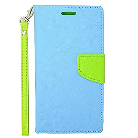 ZTE Quartz Z797C (Straight Talk, Net 10, Tracfone) - Sky Blue and Neon Green PU Leather Wallet Pouch Magnetic Flip Cover Case + Atom (Zte Quartz Case Green)