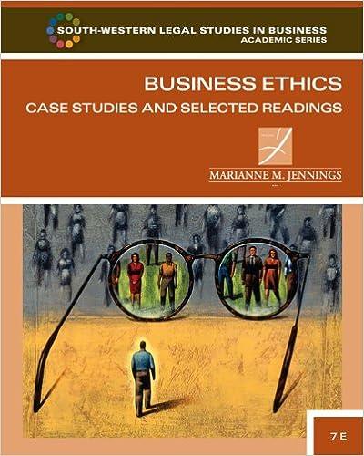 Amazon. Com: marianne moody jennings's business ethics case studies.