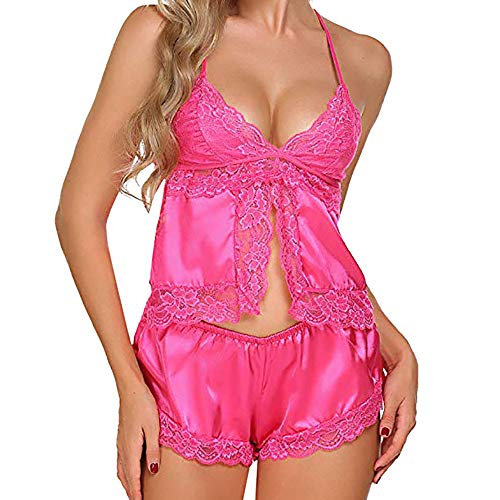 DEATU Clearance Ladies Eyelash Lace Lingerie Bodydoll V-Neck Lace Solid Pajamas Set for Women Sale(Hot Pink,L) -