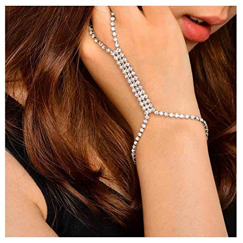 - Olbye Silver Fing Ring Bracelet Rhinestone Crystal Slave Bracelet Hand Chain Bracelet Everyday Jewelry for Women and Teen Girls