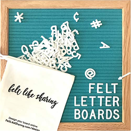 Teal Felt Letter Board 10x10 Inches. Changeable Letter Boards Include 300 White Plastic Letters and Oak Frame. ()