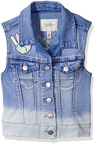 Jessica Simpson Big Girls' Pixie Embroidered Denim Vest, Mariposa/Everglade, (Cotton Embroidered Vest)