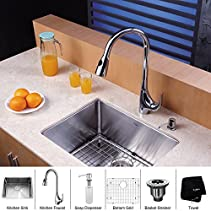 Kraus KHU101-23-KPF1621-KSD30CH 23 inch Undermount Single Bowl Stainless Steel Kitchen Sink with Chrome Kitchen Faucet and Soap Dispenser