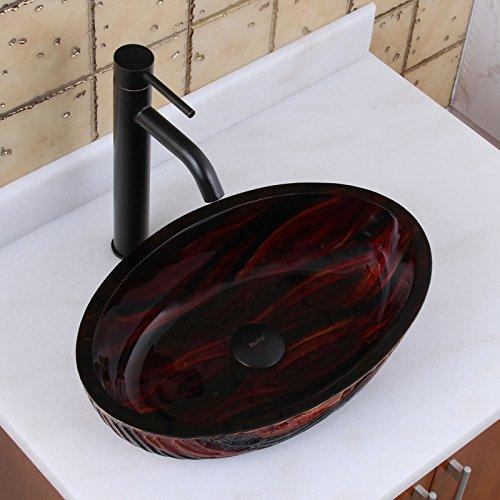 ELITE Bathroom Molten Lava Glass Vessel Sink & Oil Rubbed Bronze Finish Faucet Combo on sale