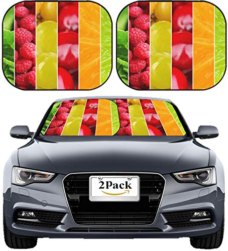 (MSD Car Sun Shade Windshield Sunshade Universal Fit 2 Pack, Block Sun Glare, UV and Heat, Protect Car Interior, Image ID: 32188023 Colorful Healthy Fruit Collage Macro)