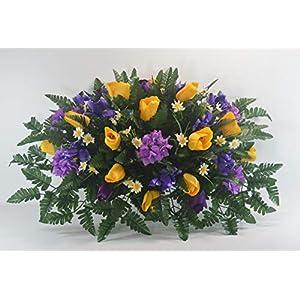 R52 Spring Cemetery Flower Arrangement, Easter Saddle, Headstone Saddle, Grave, Tombstone Arrangement, Cemetery Flowers 2