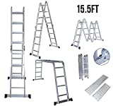 Yocitoy 12.5ft/15.5ft Multi Purpose Aluminum Folding Extension Step Ladder Foldable Lightweight Scaffold Ladder - 300 LB Capacity (15.5 Feet)