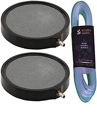 Best Cheap Deal for 2 Pack Of Deluxe 6 Inch Round Air Stone Disc With 25 Of Airline Tubing By Aquarium Masters for Hydroponic Systems, Fresh Water Ponds, Aquariums, Aquaculture! from EcoPlus - Free 2 Day Shipping Available