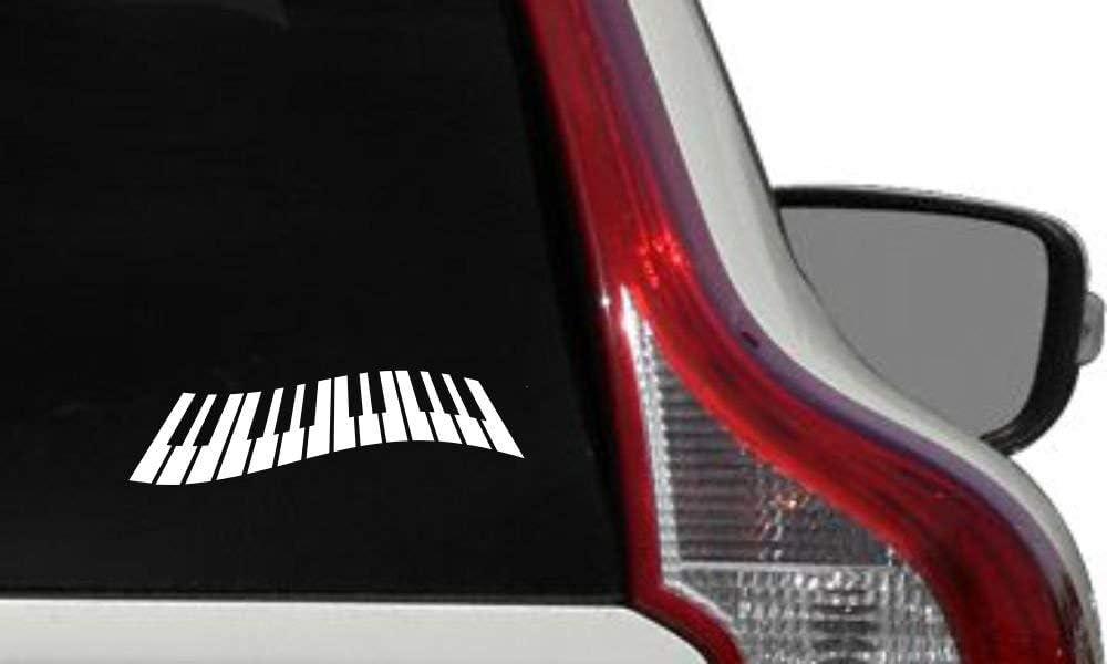 Piano Keyboard Version 1 Car Vinyl Sticker Decal Bumper Sticker for Auto Cars Trucks Windshield Custom Walls Windows Ipad MacBook Laptop Home and More (White)