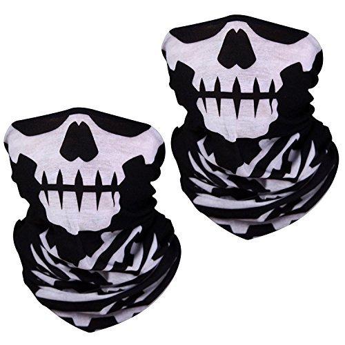 Super Things Skull Half Mask, Seamless Skull face Tube mask (2 Masks)