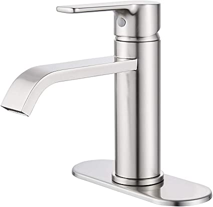 Voton Brushed Nickel Bathroom Faucet Waterfall Single Handle One Hole Lavatory Sink Faucet With 24inch Cupc Supply Line