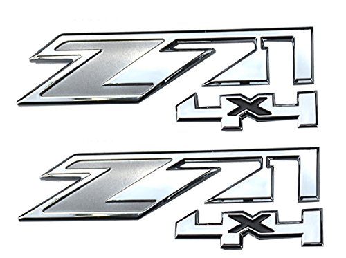 Aimoll 2pcs Z71 4x4 Emblems for GMC Chevy Silverado Sierra Tahoe Suburban New 1500 2500 3500 Decal (Chrome Grey) ()