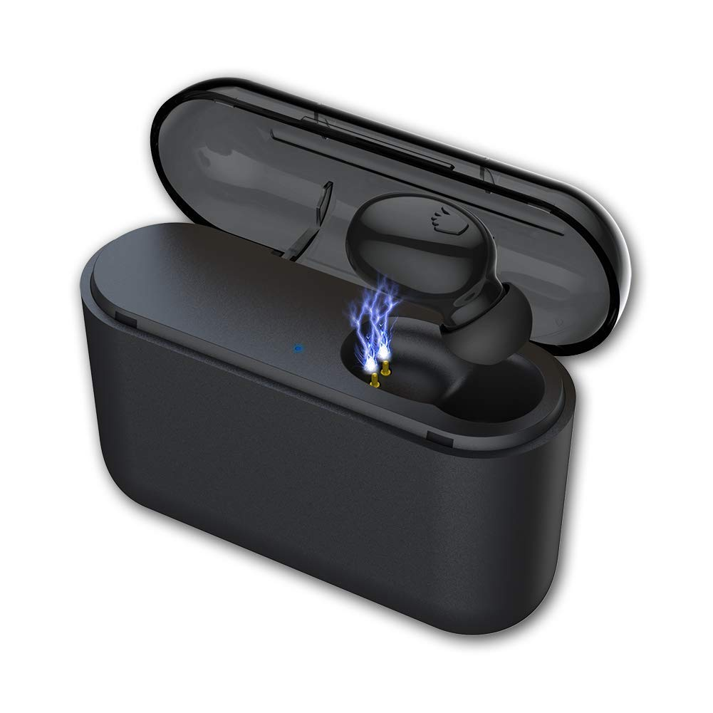 One Piece BESINPO Bluetooth 5.0 Wireless Earbud 120 Hours Playing Time 1500mAh Portable Charging Case Mini Single Bluetooth Earpiece with Mic Bluetooth Earbud Clear Sound for Hands-Free Call