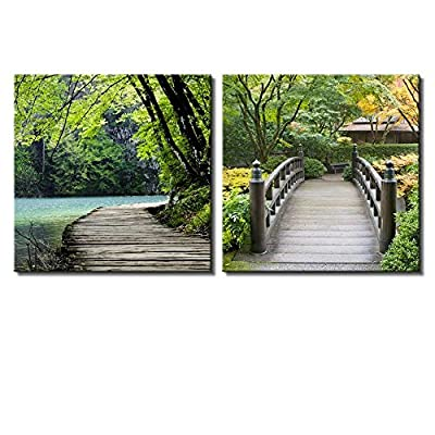 Two Piece Bridge by a Lake Surrounded by Trees on a Japanese Garden on 2 Panels, Top Quality Design, Magnificent Expertise