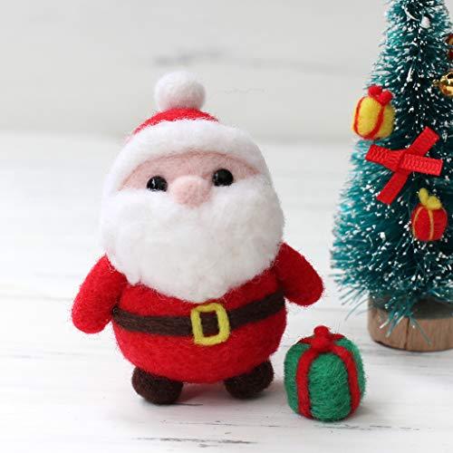 (Hacloser Wool Felting Kit Tool Supplies, Christmas Santa Claus with Gift Box, DIY Handmade Craft Needle Felting Material)