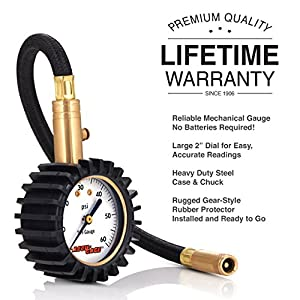Accu-Gage RH60X Professional Tire Pressure Gauge with Protective Rubber Guard (60 PSI),Straight Chuck