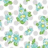 Raspberry Blue Daisies, Gray Polka Dots, White, Sew and Sew, Chloe's Closet, Moda, By the Yard
