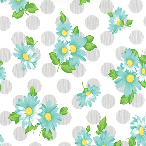 Raspberry Blue Daisies, Gray Polka Dots, White, Sew and Sew, Chloe's Closet, Moda, By the Yard by MODA